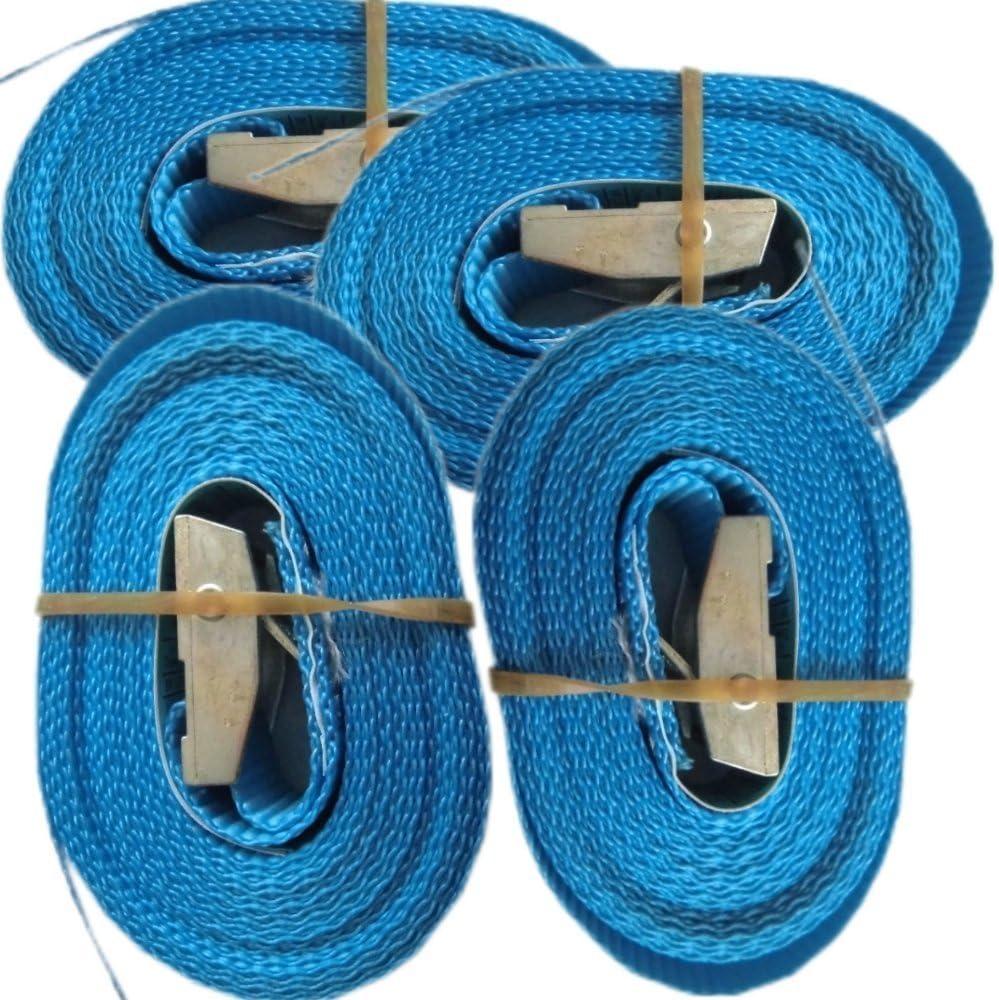 Juntful 4 Pezzi Blue Cinghia di Fissaggio Regolabile a cricchetto per Bagagli