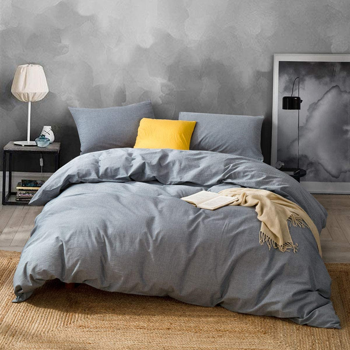 ATsense Duvet Cover King, 100% Washed Cotton, Bedding Duvet Cover Set, 3-Piece, Ultra Soft and Easy Care, Simple Style Bedding Set (Grey 7004-7)