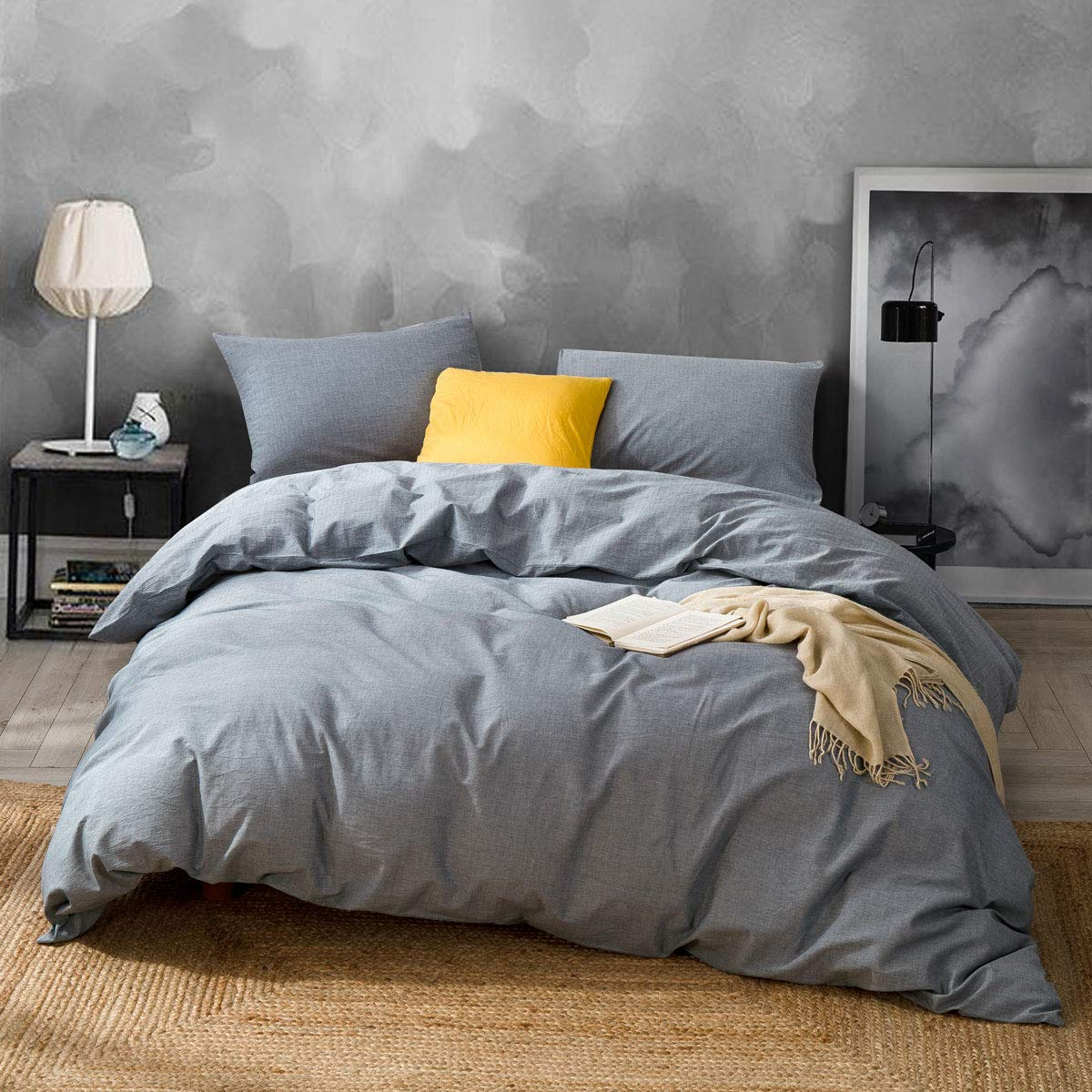 ATsense Duvet Cover Queen, 100% Washed Cotton, Bedding Duvet Cover Set, 3-Piece, Ultra Soft and Easy Care, Simple Style Farmhouse Bedding Set (Grey 7004-7)