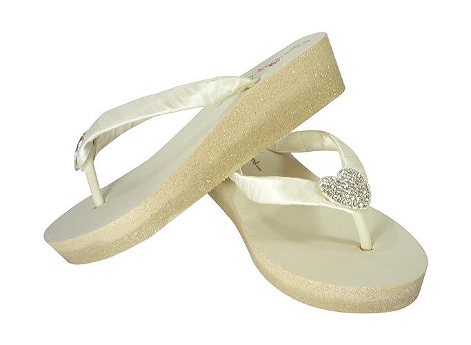f620cc3bf Amazon.com  Champagne Ombre Glitter Ivory Wedge Flip Flops with Rhinestone  Heart Embellishment  Handmade