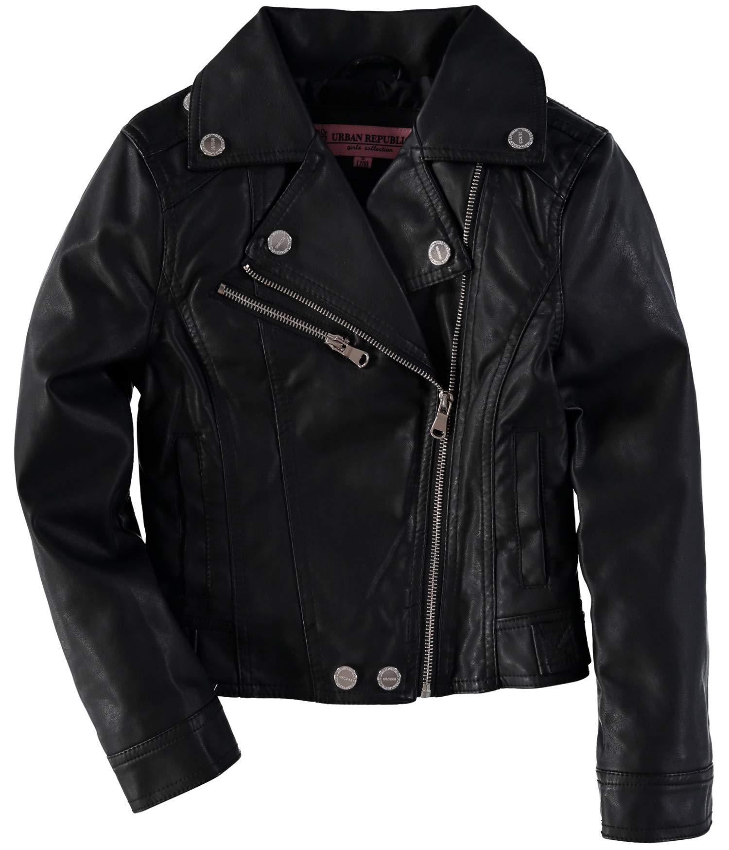 Urban Republic Girls' Metallic Moto Faux Leather Jacket (Solid Black, 14)