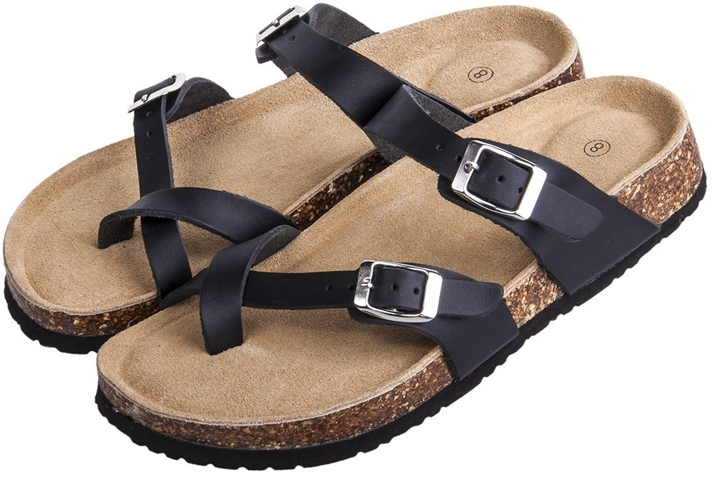MIXIN Women's Thong Flat Sandals Double Buckle Cork Sole Summer Slides with Arch Support Black US 8 M