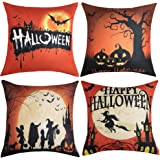 WLNUI Halloween Pillow Covers 18x18 Orange and Black Happy Halloween Decorative Throw Pillow Covers Square Cushion Case for Couch Sofa Indoor Outdoor Home Decor