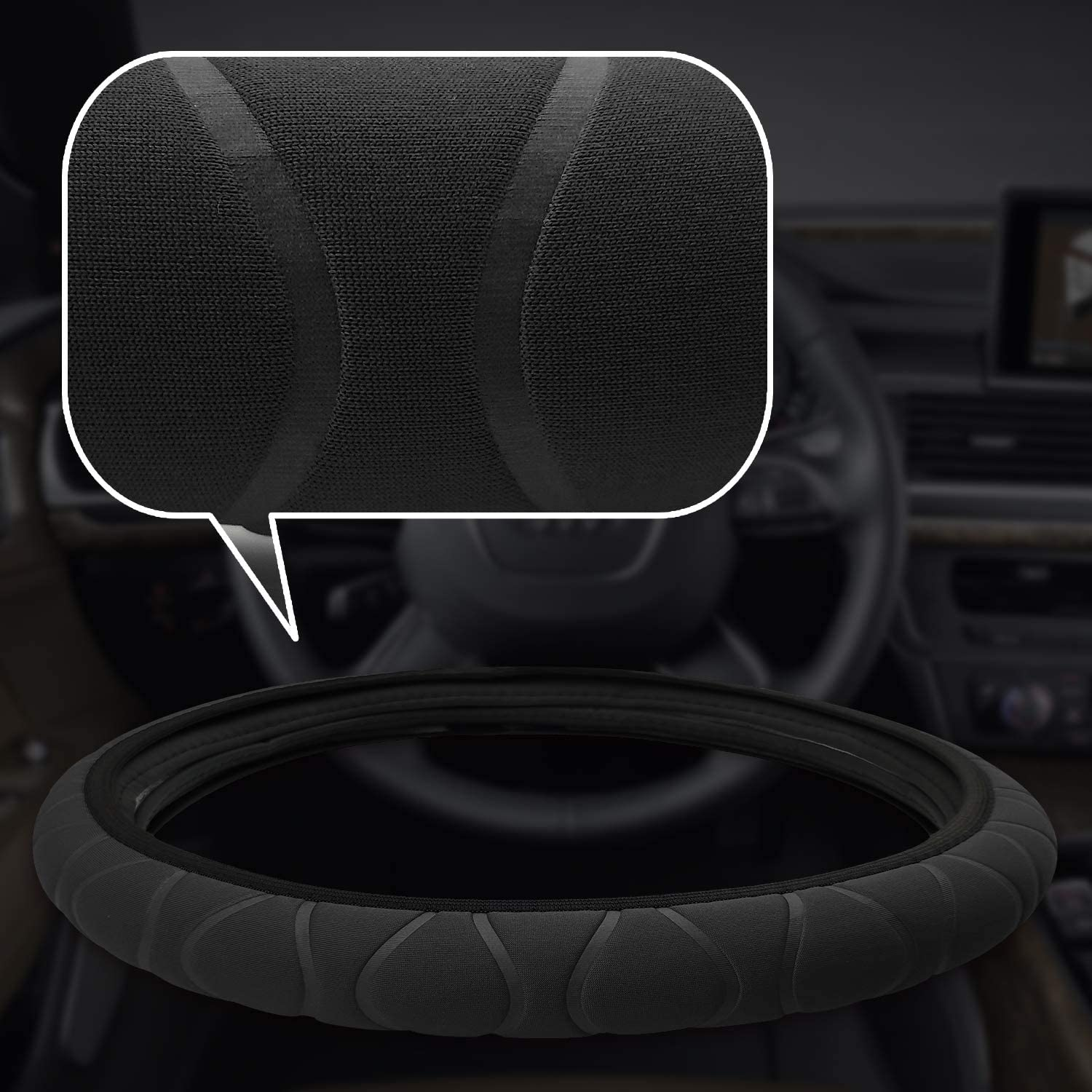 NICEASY 14.5-15 inch Black Soft Spongy Fabric Steering Wheel Cover for Woman,Girl
