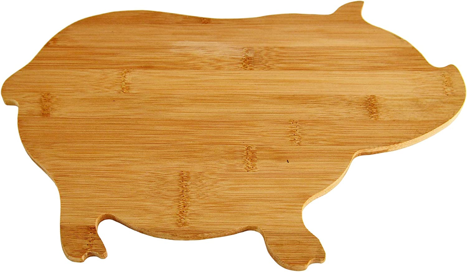 """HOME-X Pig-Shaped Bamboo Reversible Cutting Board and Serving Tray, Cheese Board, Kitchen Tray, or Fruit Platter-Natural Color-15 5/8"""" x 9 1/2"""" x 5/8"""""""