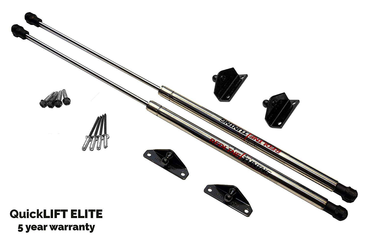 Redline Tuning 21-27010-03 Toyota Tacoma Hood QuickLIFT ELITE System - Struts Stainless Steel & Compatible With All Hoods
