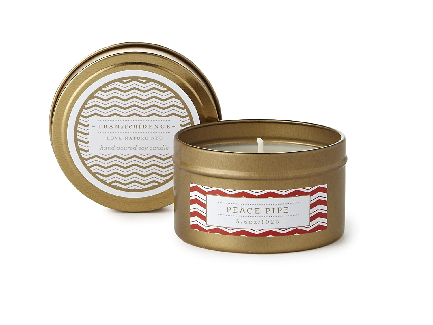 LOVE NATURE NYC Natural Soy Candle Tin, Peace Pipe Fragrance, Clean Burning Non-Toxic, Scent Notes of Fresh Cut Tobacco Leaves & Cherrywood, 25-30 Hours