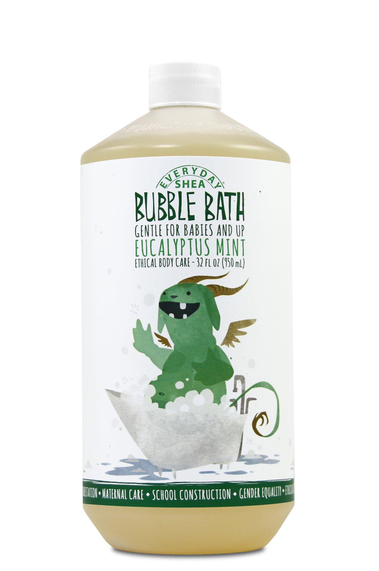 Alaffia - Everyday Shea Bubble Bath, Babies and Kids, Gentle Support to Clean, Moisturize, and Calm with Shea Butter, Lemon Balm, and Spearmint, Fair Trade, Eucalyptus Mint, 32 Ounces (FFP)