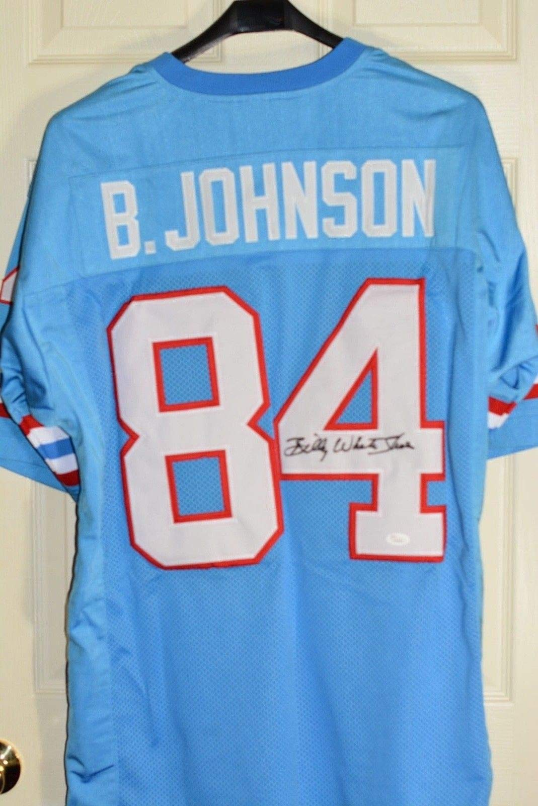 Billy white Shoes Johnson Autographed Signed/Autographed Signed Powder Blue Jersey JSA Authentic