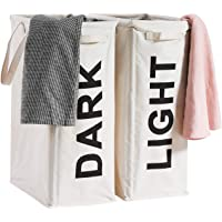 "ALINK 26"" Tall Slim Laundry Hamper Bag, 2Pcs/Set Lights and Darks Separator, Waterproof Large Thin Foldable Dirty…"