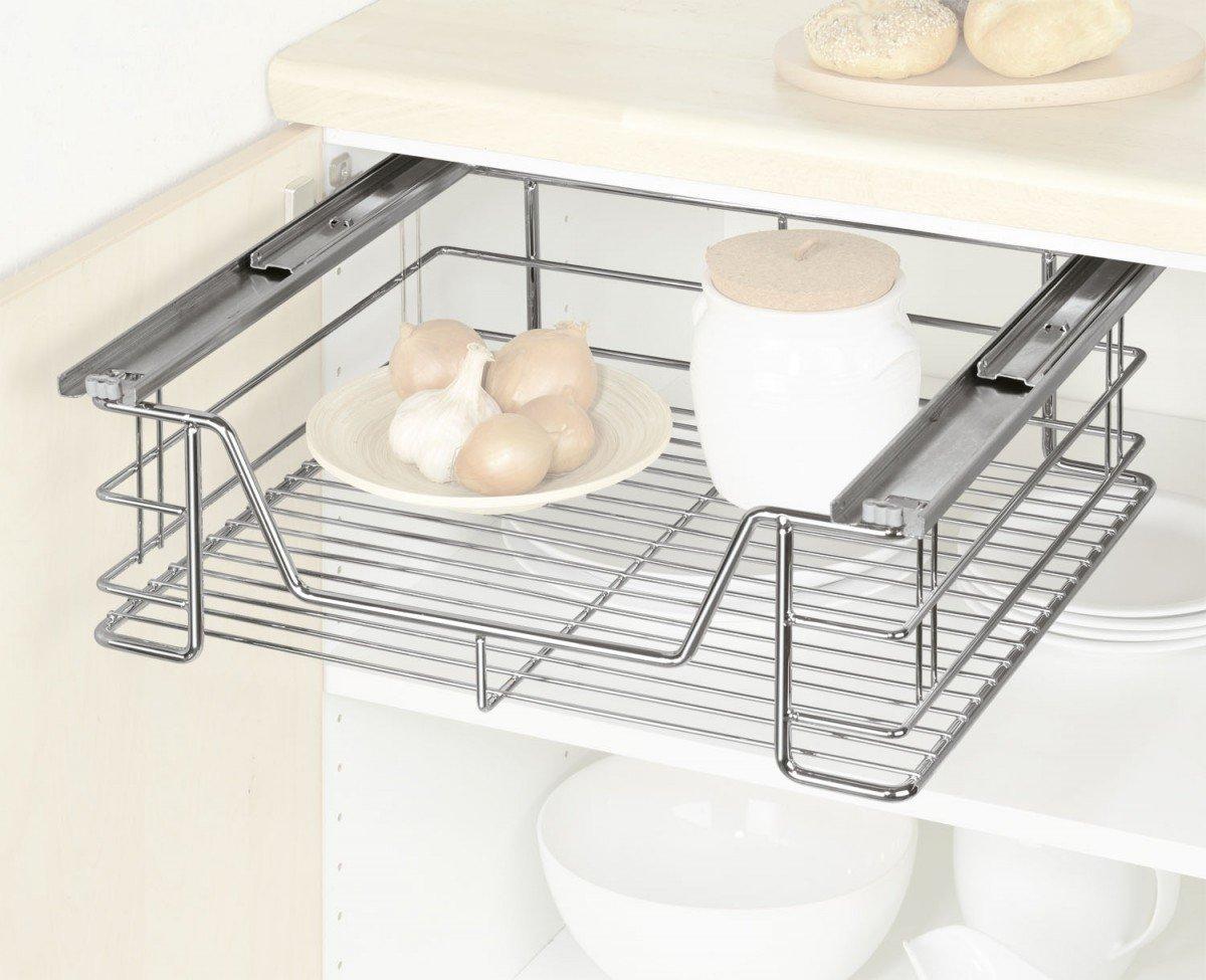 WENKO 5911500 Schrankauszug Maxi   Ausziehbare Ablage, Stahl, 49 X 23 X 47  Cm, Chrom: Amazon.de: Küche U0026 Haushalt
