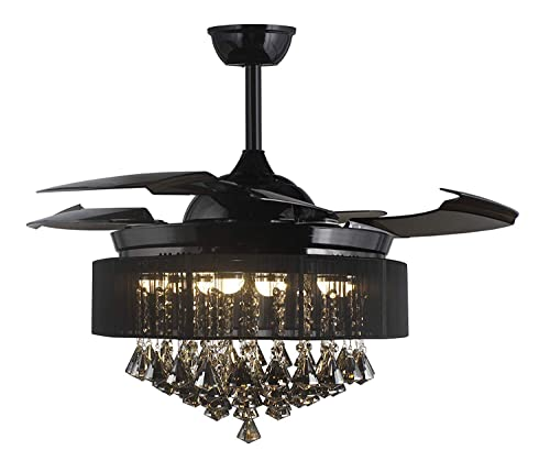 42 Crystal Round Drum shape Ceiling FAN 32W LED 4 Acrylic Invisible Retractable Blades with Light Kits 3000K-4000K and Remote Control, SMOKE CRYSTAL Finished
