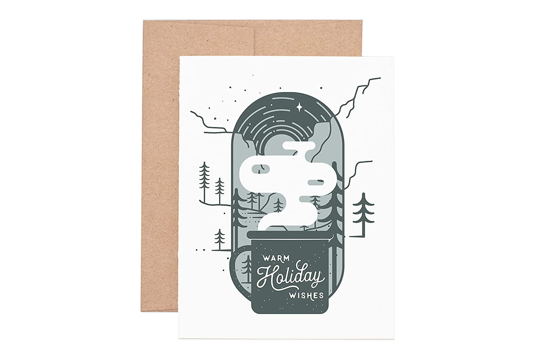 Warm Holiday Wishes Mug Letterpress Greeting Card