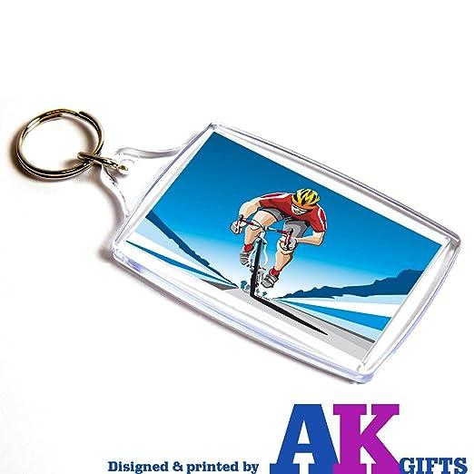 AKGifts Ciclista Bicicleta Doble Cara Llavero Regalo de ...