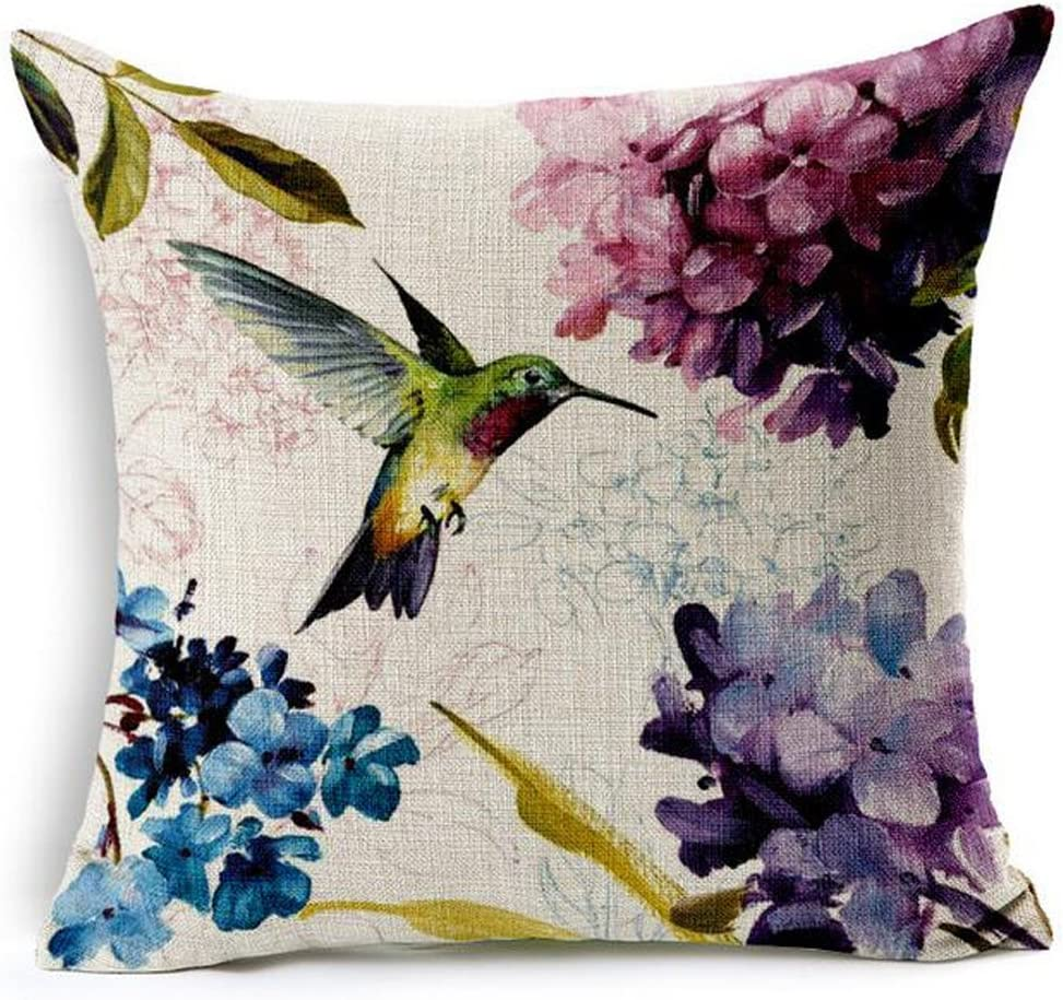 Beautiful Oil Painting Hummingbird and Hydrangea Ixora chinensis Cotton Linen Home Throw Pillow Case Personalized Cushion Cover New Home Office Decorative Square 18 X 18 Inches