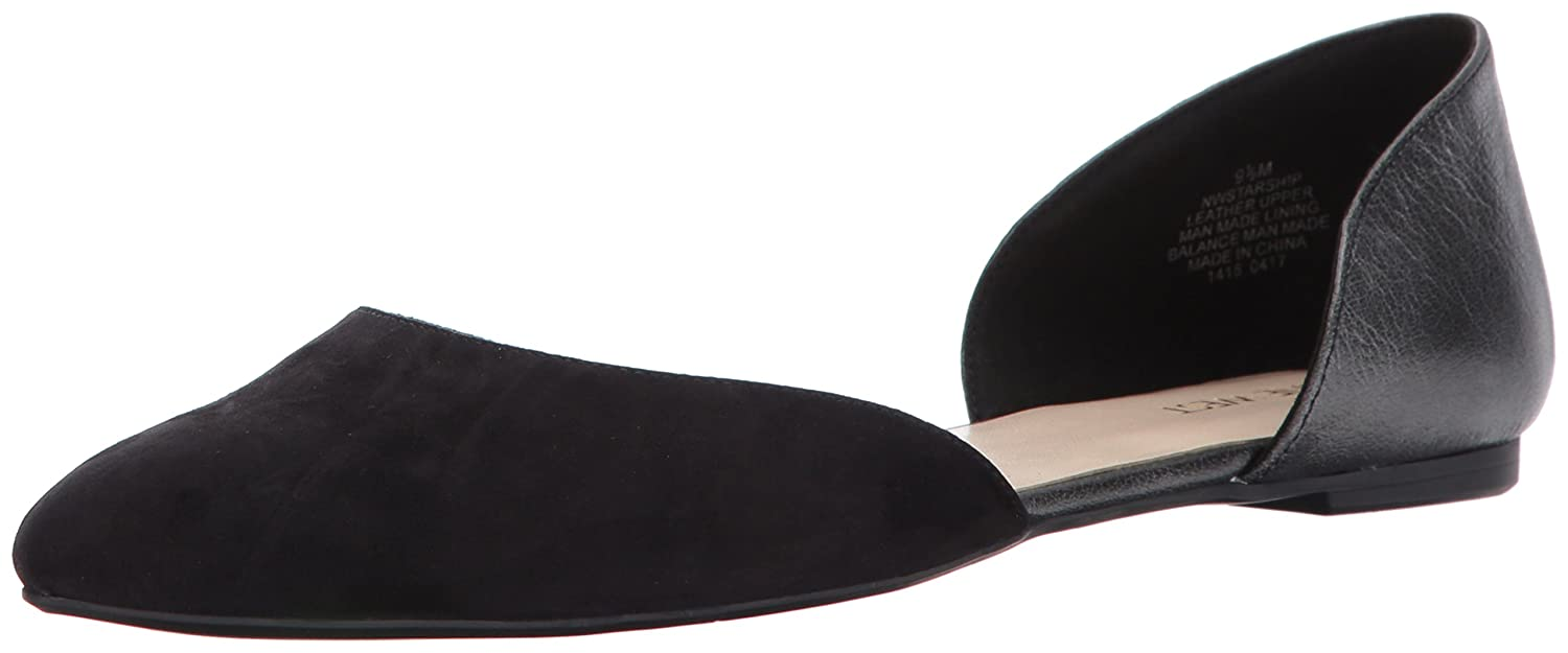 Nine West Women's Starship Suede Pointed-Toe Flat B01MRUL4OX 5 B(M) US|Black/Dark Grey
