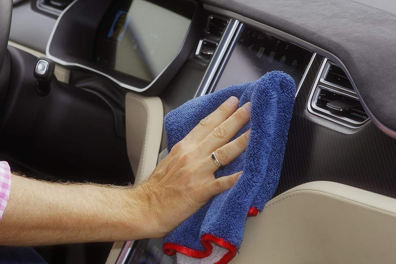 2: gris argent bleu marine avec bord satin rouge glart 472PP Chiffon de polissage pour soin doux de voiture avec bord de satin 40x40 cm Chiffon 1: gris argent bleu marine avec bord satin argent