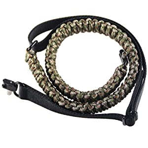 Campsnail 550 Paracord Traditional 2 Point Adjustable Gun and Rifle Sling for Tatical Hunting, Outdoor Adventure (Forest Cam)