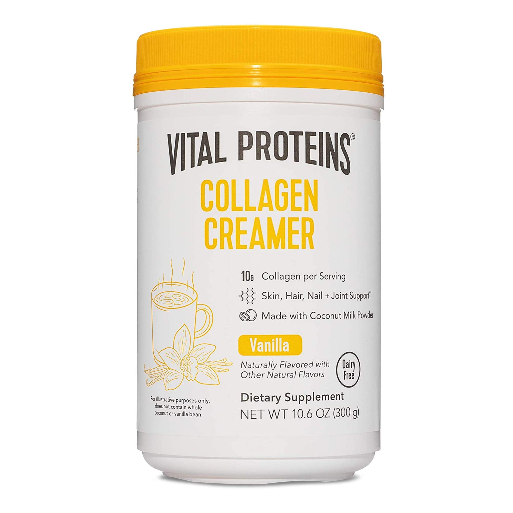 Vital Proteins Collagen Coffee Creamer, No Dairy & Low Sugar Powder with Collagen Peptides Supplement - Supporting Healthy Hair, Skin, Nails with Energy-Boosting MCTs - Vanilla 10.6oz