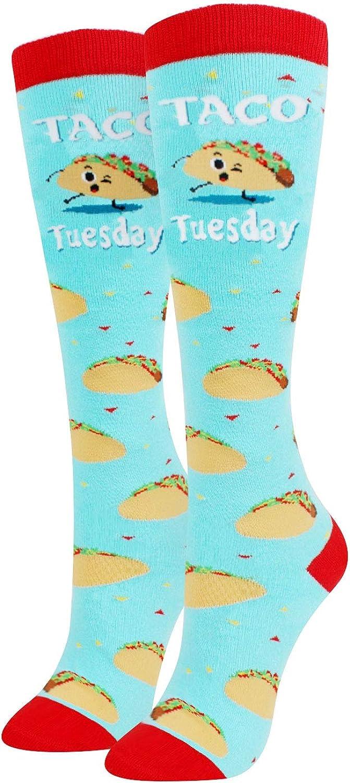 Women's Animal Food Fruit Dental Unicorn Knee High Socks, Novelty Funny Over the Calf Socks Gift