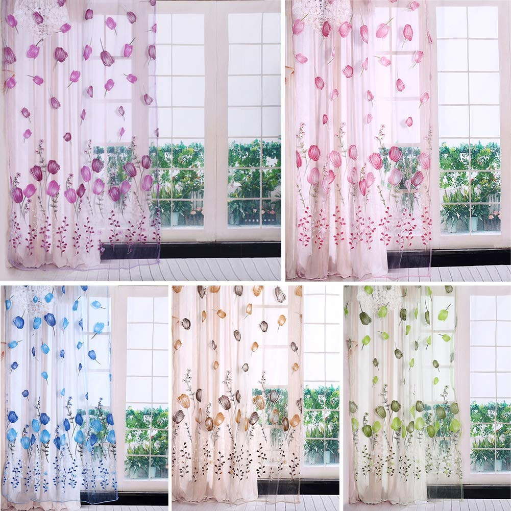 Colorful Tulips Floral Printing Tulle Voile Curtains Sheer Drape Balcony Door Room Dividers Scarf Valances Pastoral Decorative Window 100 Blue 200cm
