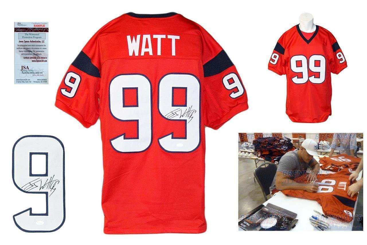 best service 6c46c b82ff Autographed J.J. Watt Jersey - JJ Red Witness w PHOTO - JSA ...