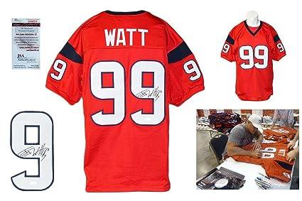 best service a75e9 73e3c Autographed J.J. Watt Jersey - JJ Red Witness w PHOTO - JSA ...
