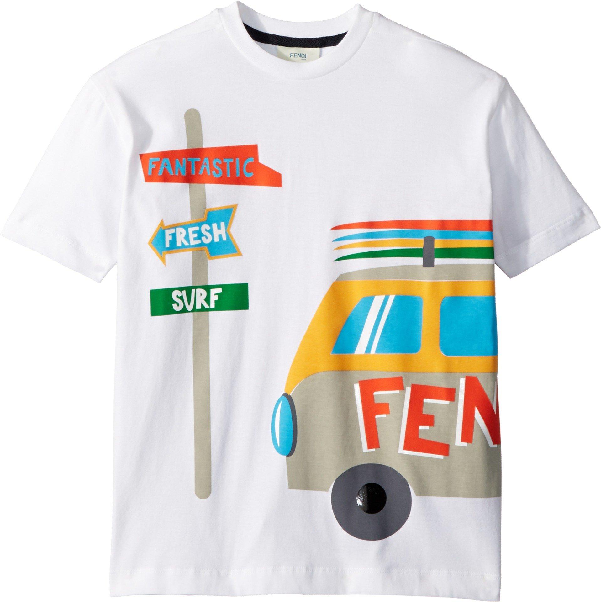 Fendi Kids Boy's Short Sleeve Logo Surf Van Graphic T-Shirt (Little Kids) White 8 Years