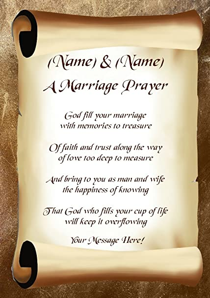 A Marriage Prayer (Wedding Day) Personalised Gift Poem Print