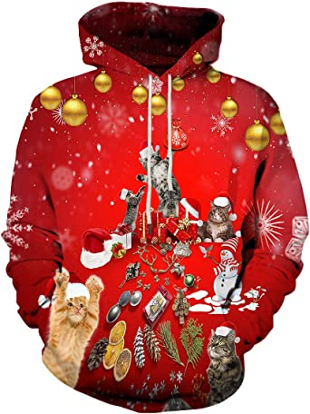 Womens Novelty Hoodie Christmas Realistic 3D Print Sweatshirt Long-Sleeved Drawstring Pullover Fashion Top