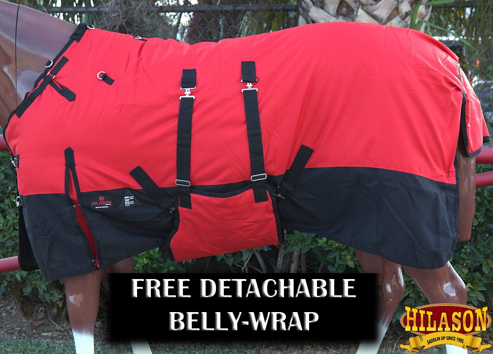 HILASON 70'' 1200D Winter Waterproof Poly Horse Blanket Belly Wrap Red by HILASON