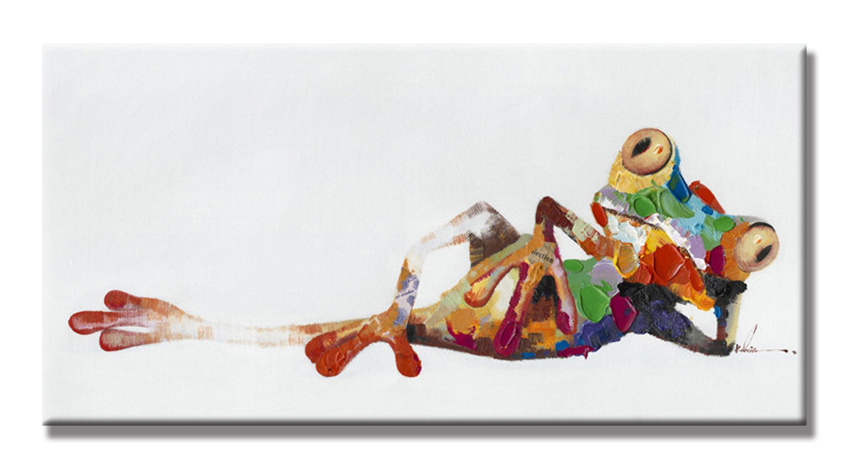 SEVEN WALL ARTS - 100% Hand Painted Oil Painting Cute Animals with Stretched Frame Artwork for Wall Decor 18 x 36 Inch (Leisure Frog)