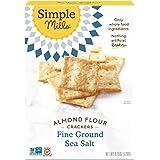 Simple Mills Almond Flour Crackers, Fine Ground Sea Salt, Gluten Free, Flax Seed, Sunflower Seeds, Corn Free, Good for…