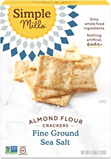 product image for Simple Mills Almond Flour Crackers, Fine Ground Sea Salt, Gluten Free, Flax Seed, Sunflower Seeds, Corn Free, Good for Snacks, Made with whole foods, (Packaging May Vary)