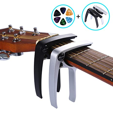 AsmuseTM Trigger Cejilla Guitarra Española Electricas Clásica Electrica Acustica Clasica Folk Ukelele Bajo instrumento guitar Capo Ligero Aleación de ...