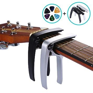 Asmuse Trigger Cejilla Guitarra Española Electricas Clásica Electrica Acustica Clasica Folk Ukelele Bajo instrumento guitar Capo Ligero Aleación de Aluminio ...