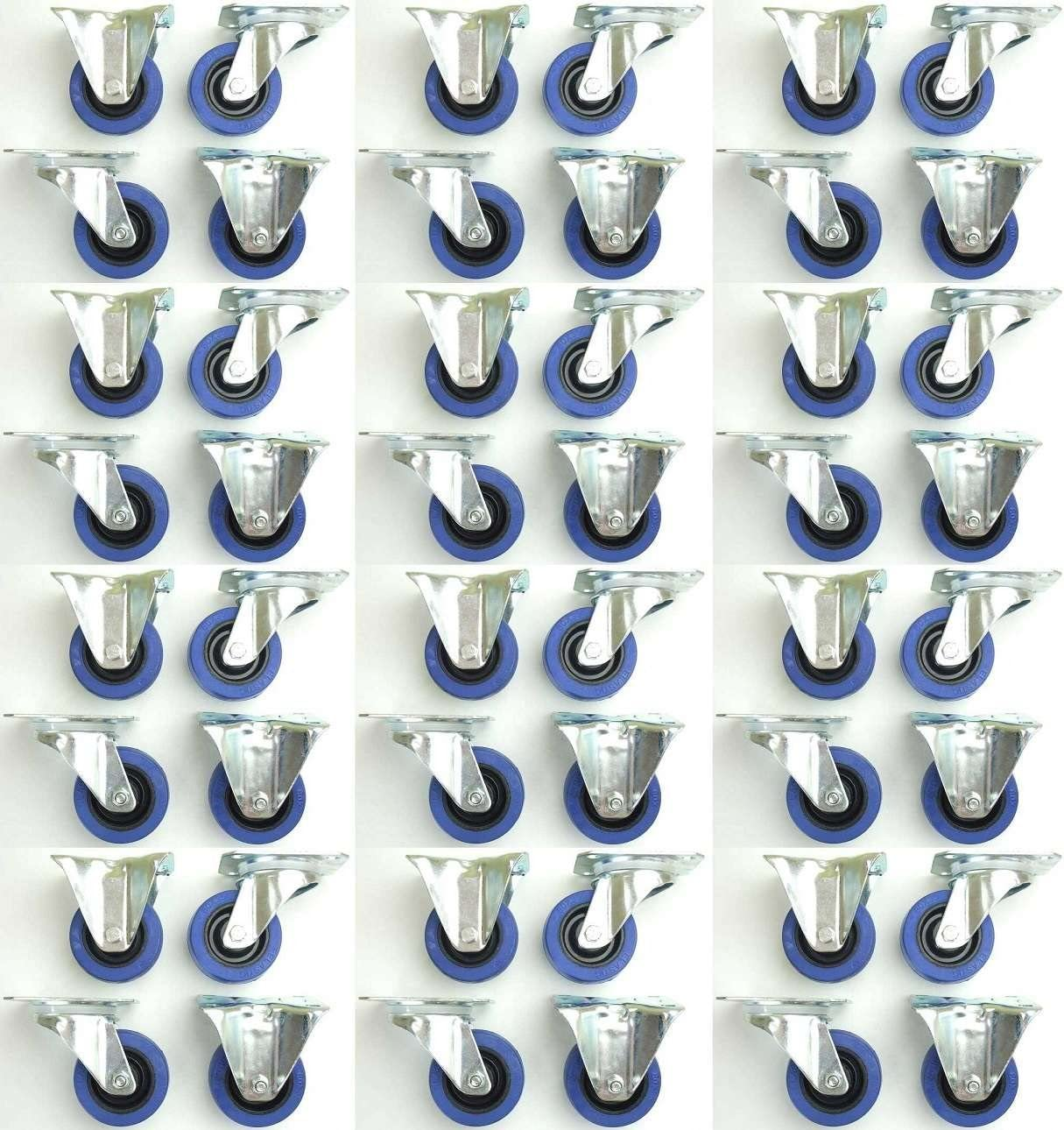 INDUSTRIEQALIT/ÄT 1 Satz 80mm Blue Wheels Lenkrollen Transportrollen mit Feststellbremse 2x Brems + 2x Bock Bockrollen 140kg // Rad