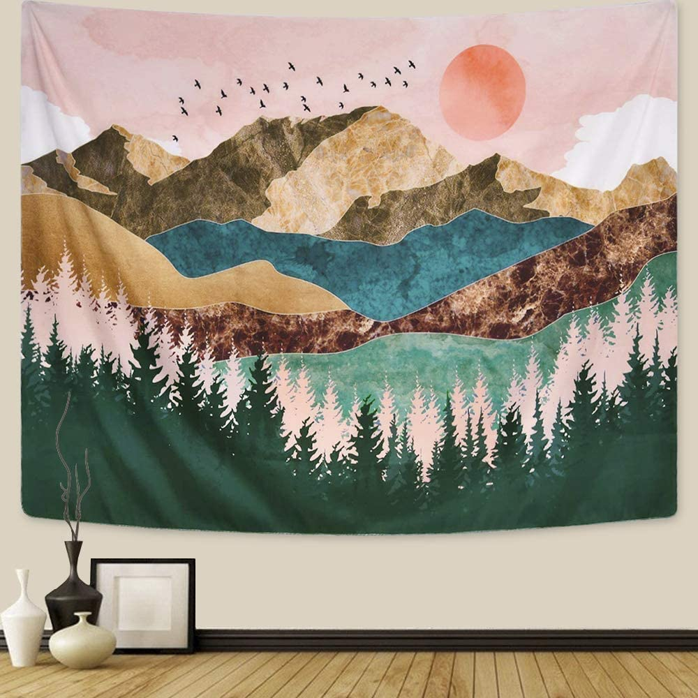 Mountain Tapestry Forest Tree Tapestry Wall Art Sunset Tapestries Nature Landscape Tapestry Wall Hanging for Room Bedroom Living Room Dorm, 60X40 Inches