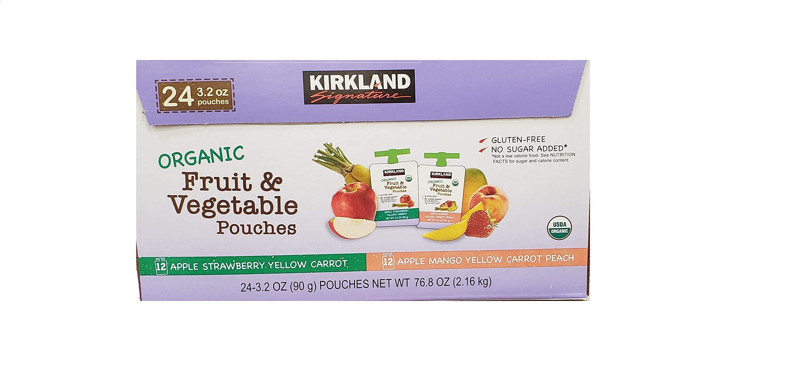 Kirkland Signature Organic Fruit & Vegetable Pouches (24/3.2 Oz Net Wt 76.8 Oz), by KIRKLAND SIGNATURE
