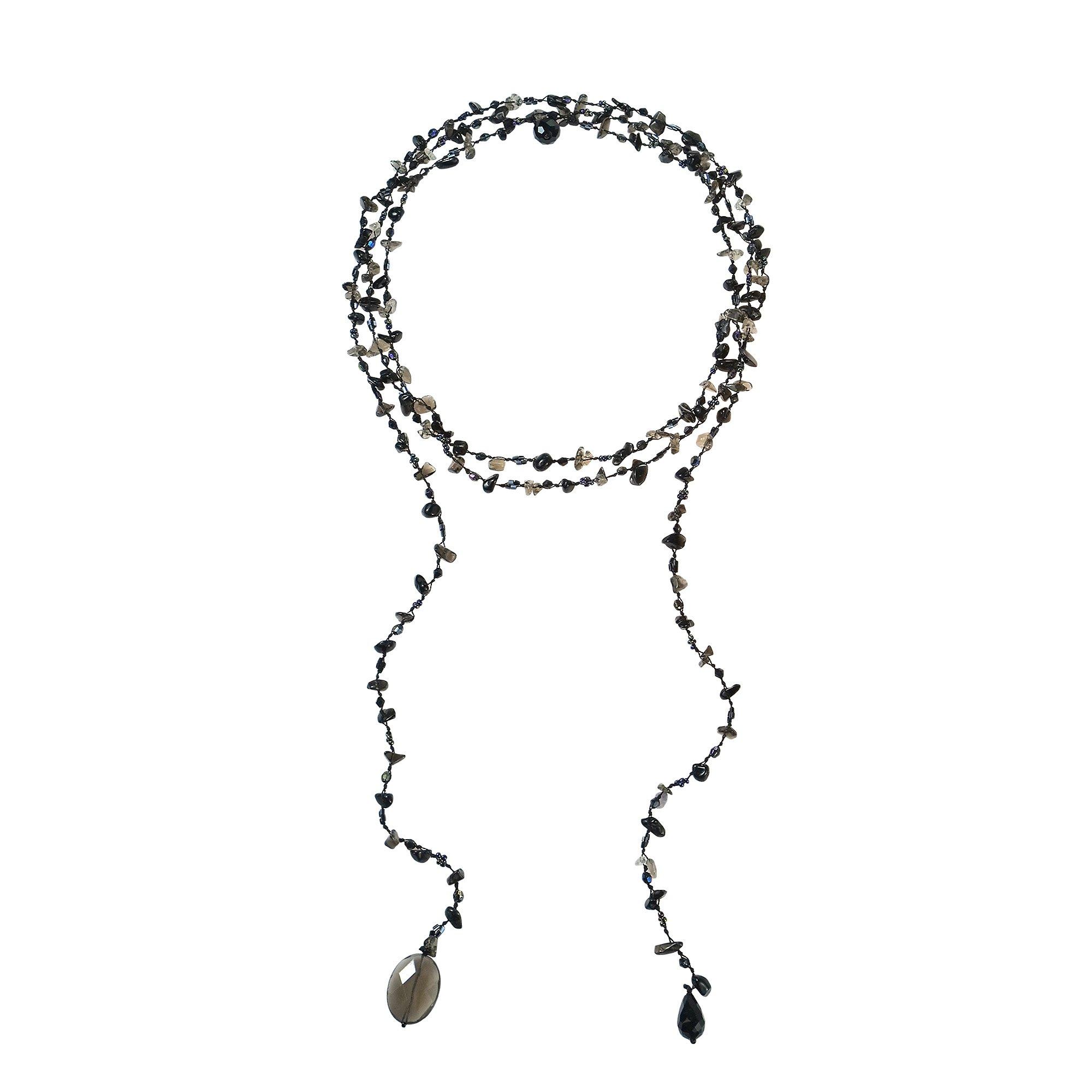 AeraVida Sparkling Aura Reconstructed Black Agate-Smokey Glass Lariat Necklace