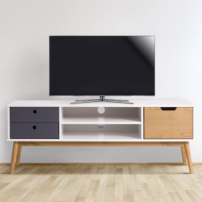 Meuble Tv Leti Blanc Fabriqu En Bois De Pin Massif 1 Porte Y 2  # Meuble Tv Gris Bois