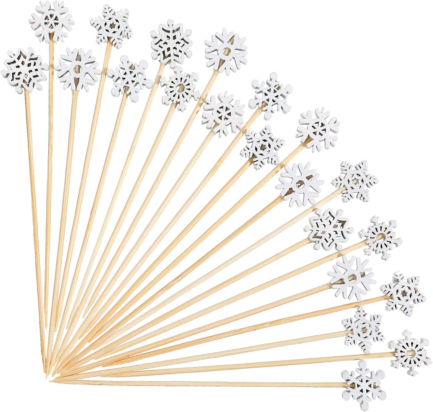 120 Pieces Snowflake Cocktail Picks Handmade Assorted Fruits Bamboo Toothpicks Snowflake Christmas Fruit Picks for Drink Fruit Dessert Food Appetizers Decoration Frozen Winter Theme Christmas Party