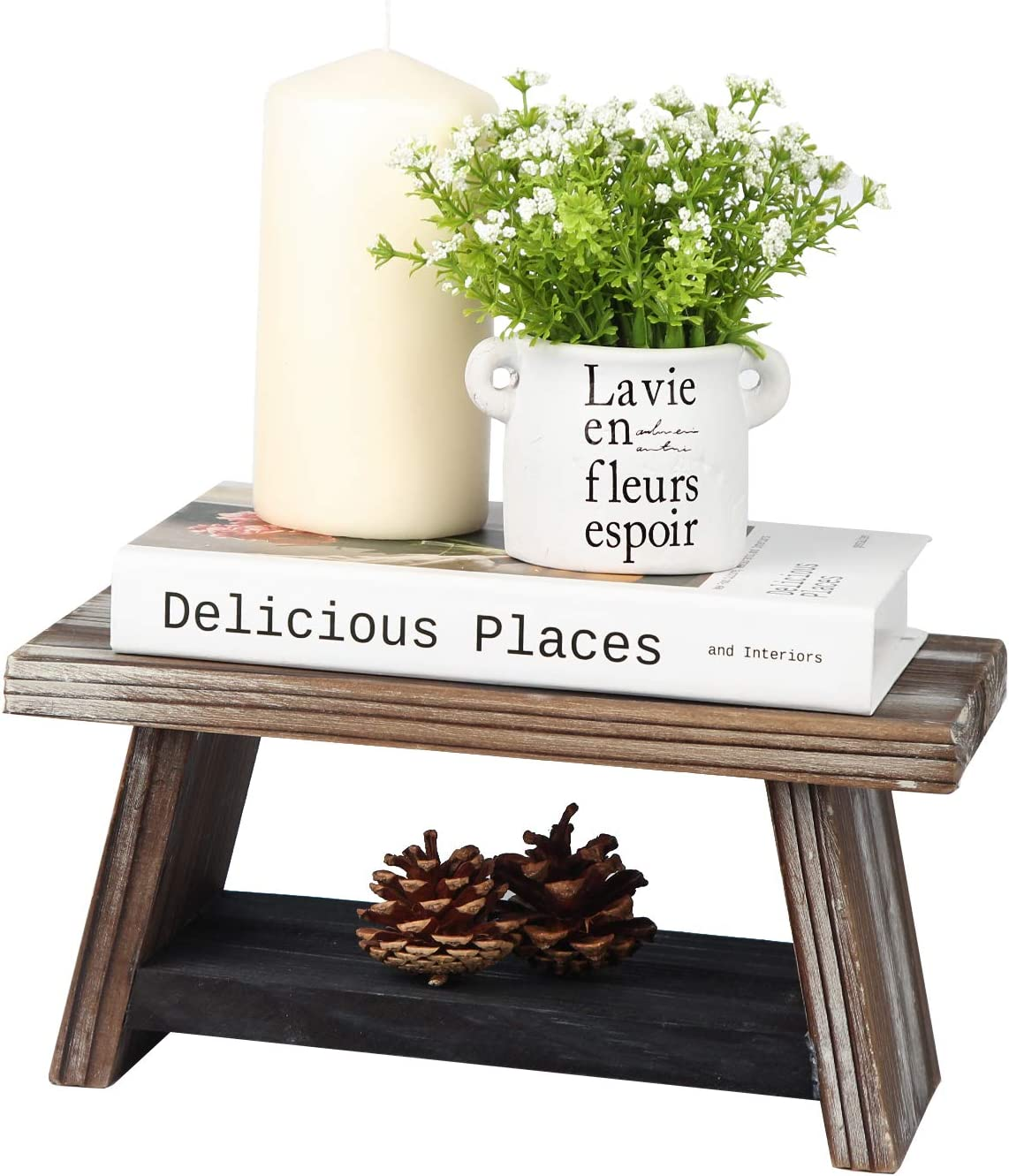 J JACKCUBE DESIGN - Rustic Wood Display Stand 2 Tier Wooden Pedestal Platter for Plant Food Dessert Decorative Crates for Table Small Centerpiece Organizer - MK593A