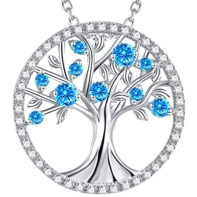 Amazon Valentines Day Jewelry Gifts For Women The Tree Of Life March Birthstone Created Aquamarine Sterling Silver Love Family Necklace Anniversary