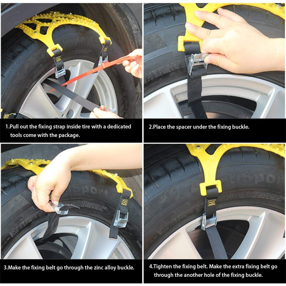 and Pick Up Patterned Tire Chains for Emergencies and Road Trip Car Snow Chains SUV Premium Quality Strong Durable All Season Anti-Skid Car