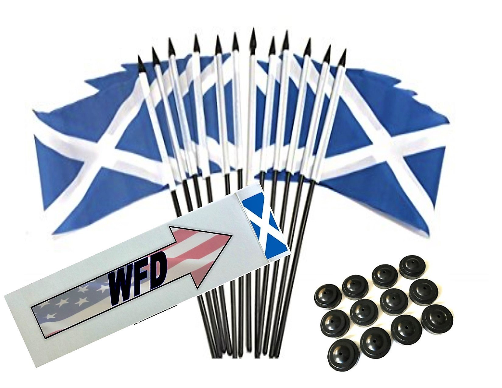 Box of 12 Scotland Cross 4''x6'' Polyester Miniature Desk & Little Table Flags, 4x6 Scottish Cross Small Mini Hand Waving Stick Flags with 12 Flag Bases (Stands)