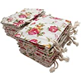 FASOTY 24 Pack Roses Pattern Double Drawstring Linen Bags Burlap Bags with Drawstring Gift Bags Jewelry Pouch for Wedding Party and DIY Craft 3.7 X 5.2 inch