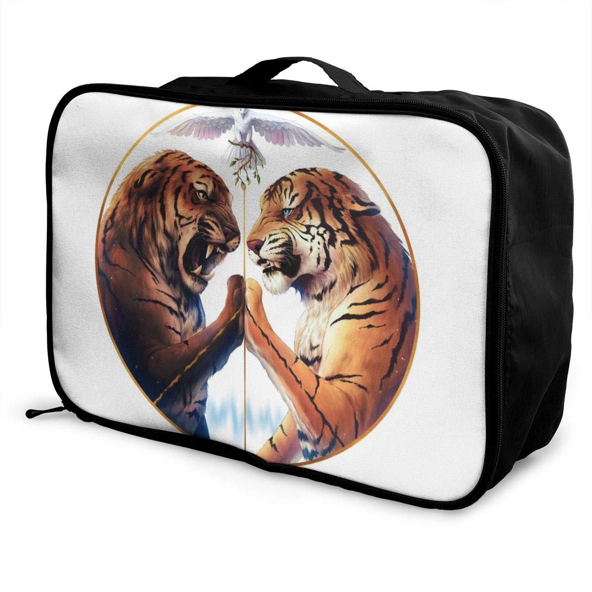 Tiger Peace Circle Eternity Yin And Yang Pigeon Customize Casual Portable Travel Bag Suitcase Storage Bag Luggage Packing Tote Bag Trolley Bag