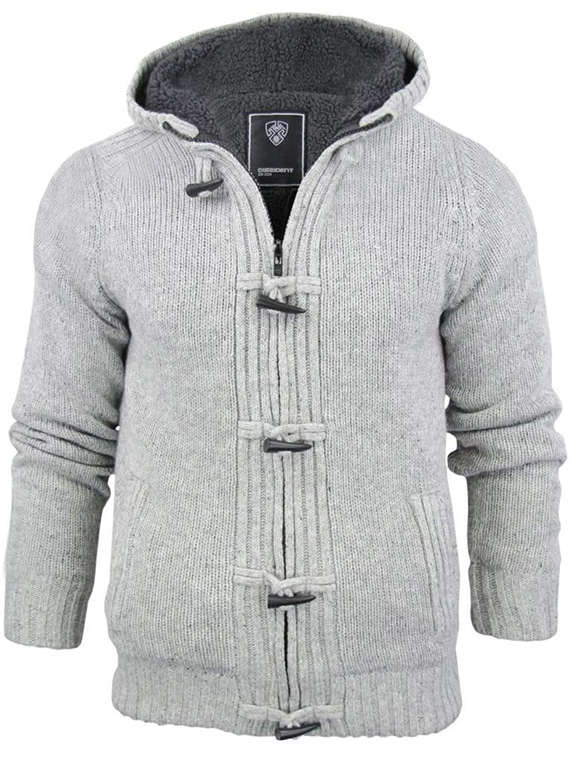 MENS FLEECE LINED CHUNKY KNIT HOODED CARDIGAN (Large, Oatmeal ...