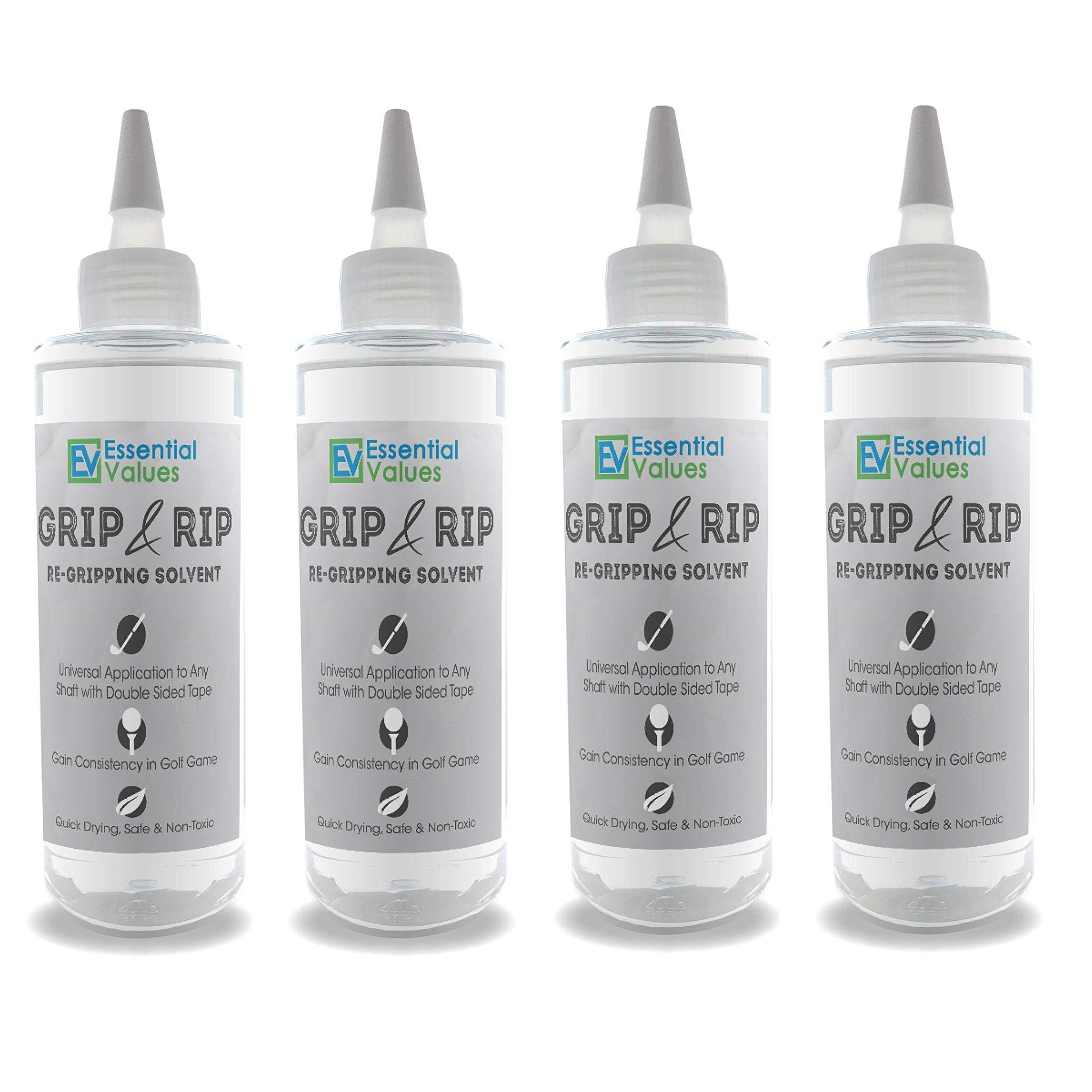 Essential Values 4 Pack Golf Regripping Solvent (8 Fl Oz), Double The Solution Compared to Others - Excellent for Quick & Easy Regripping of Golf Clubs - Made in USA by Essential Values